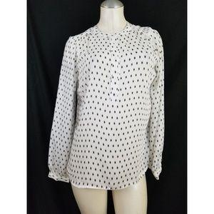 Cynthia Rowley Size S White Black Blouse Top